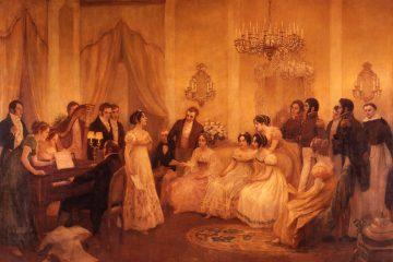 El Himno Nacional en la sala de María Sánchez de Thompson, donde se cantó por primera vez, 1813